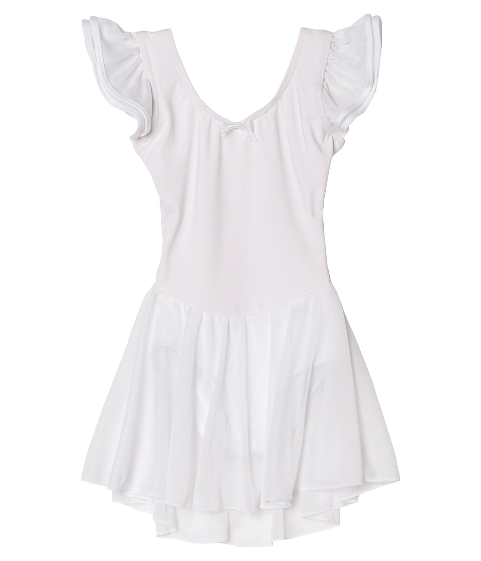 Capezio Kids - Flutter Sleeve Dress (Toddler/Little Kids/Big Kids) (White) Girl's Dress