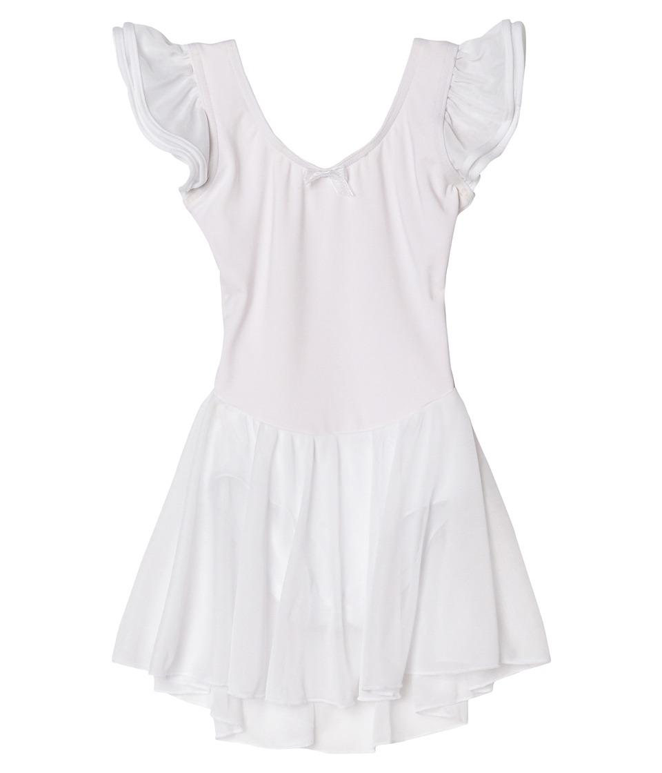 Capezio Kids - Flutter Sleeve Dress (Toddler/Little Kids/Big Kids) (White) Girl's Dress