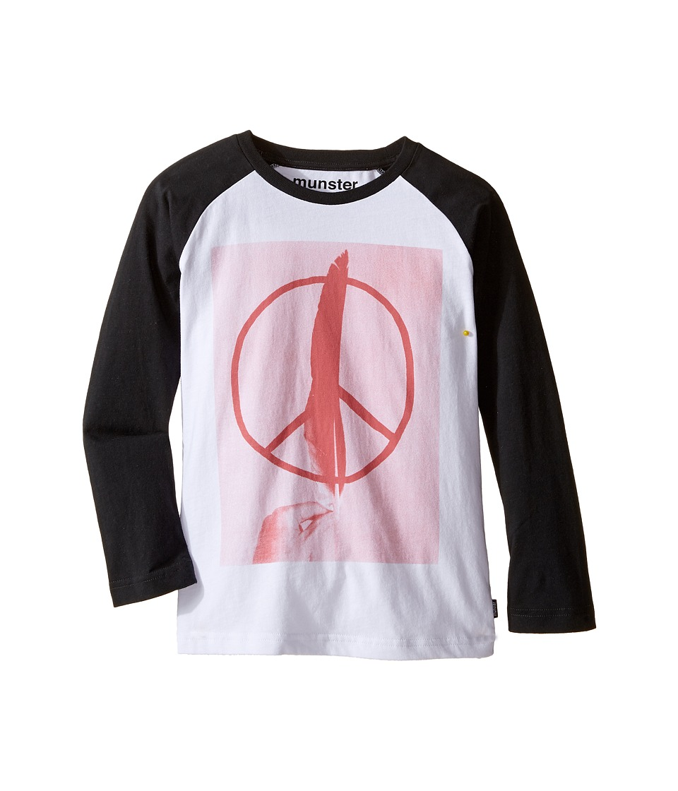 Munster Kids - Peace Feather Long Sleeve T-Shirt (Toddler/Little Kids/Big Kids) (Soft Black) Boy's T Shirt
