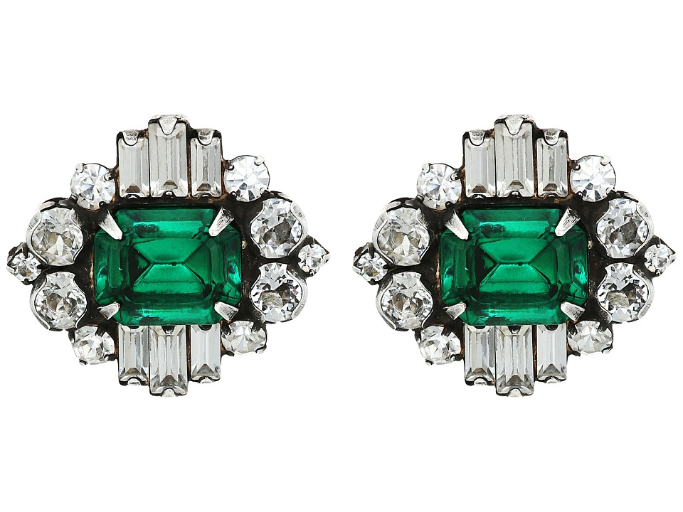 DANNIJO - ATHENA Earrings (Ox Silver/Clear/Emerald) Earring