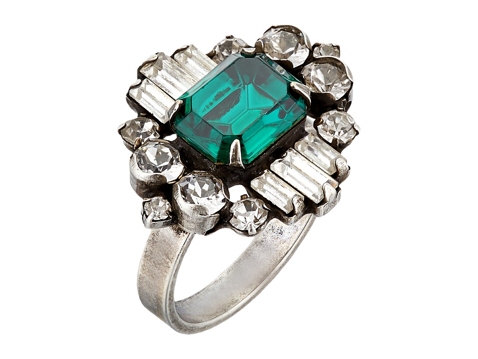 DANNIJO - BEACON Ring (Ox Silver/Clear/Emerald) Ring