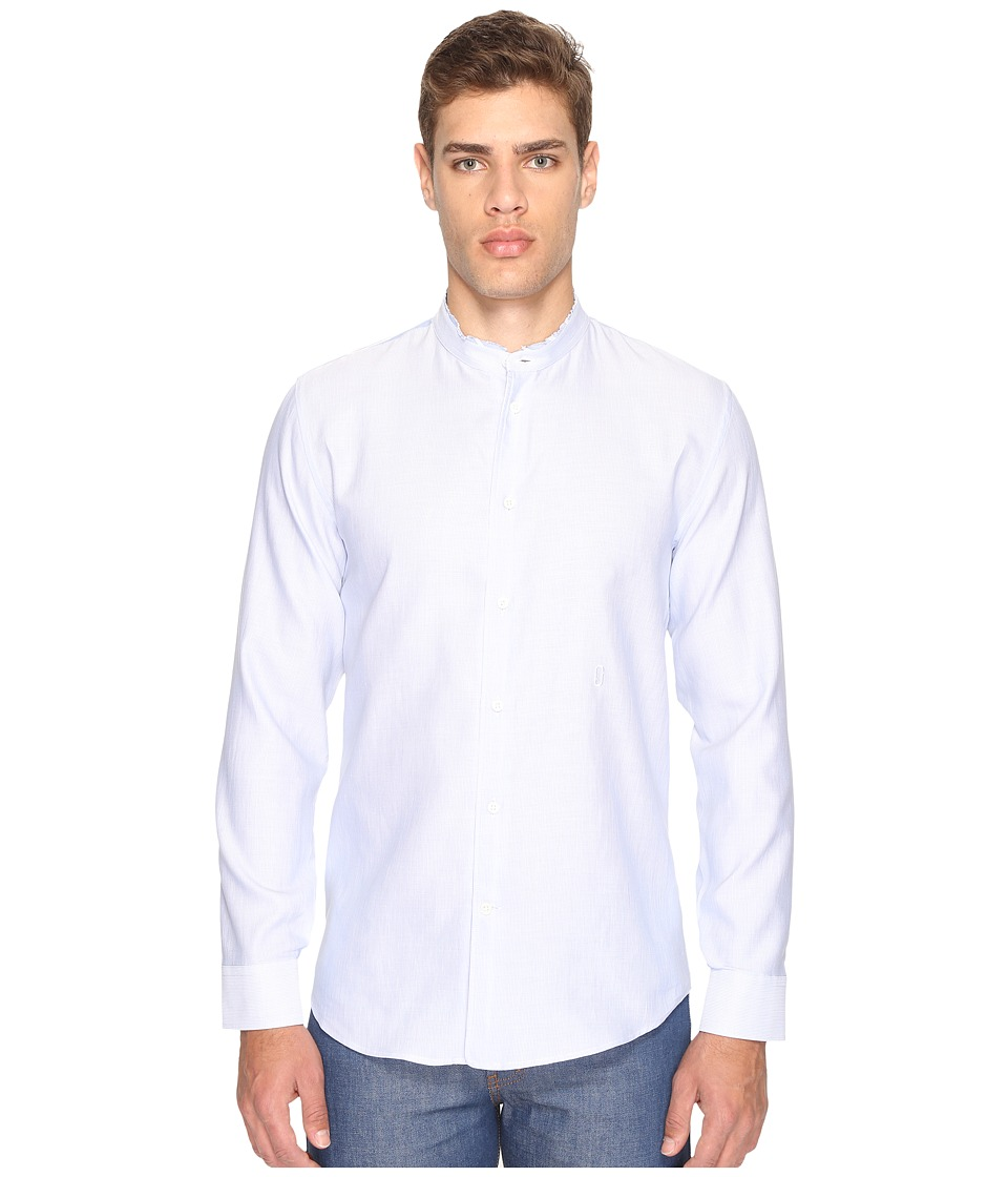 Marc Jacobs - Cotton Linen Fine Stripe Shirt (Blue/White) Men's Clothing