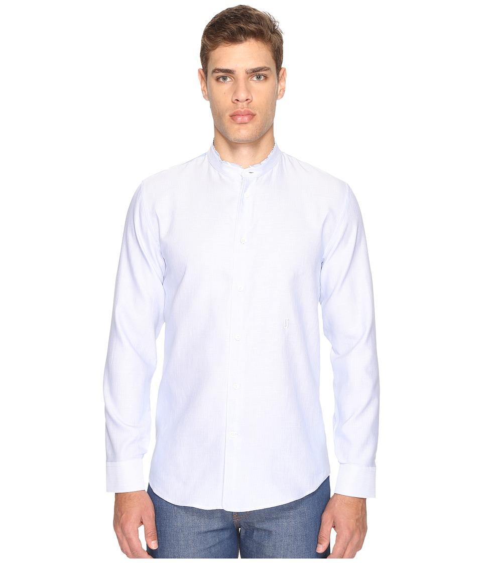 Marc Jacobs - Cotton Linen Fine Stripe Shirt (Blue/White) Men's Clothing