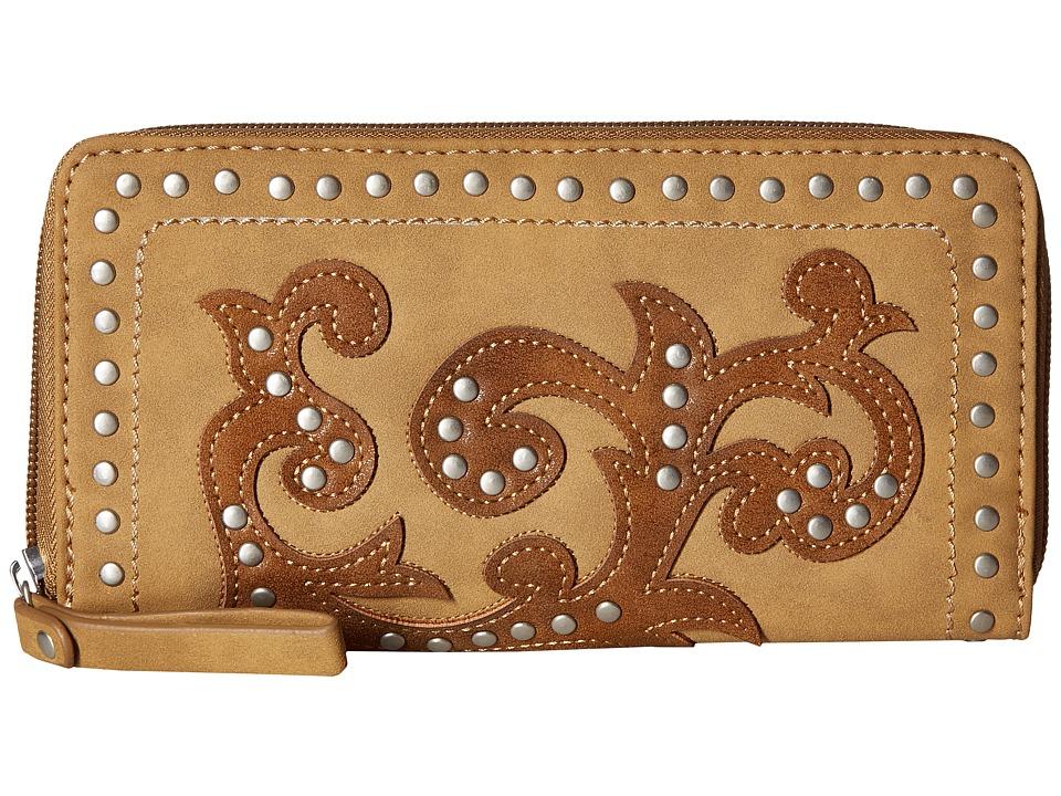 American West - Shady Cove Zip Around Wallet (Honey/Golden Tan) Wallet Handbags