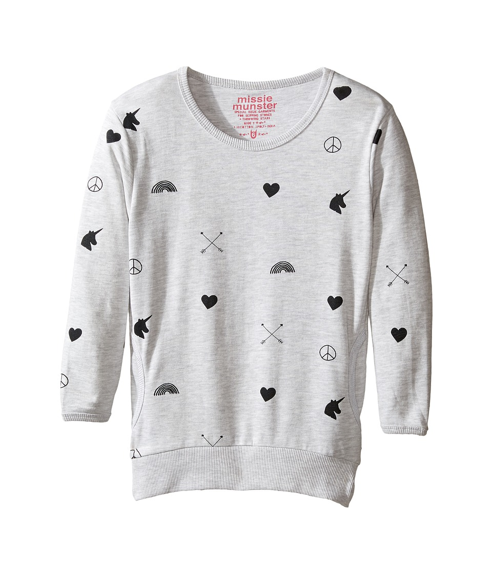 Munster Kids - Love Arrow Sweatshirt (Toddler/Little Kids/Big Kids) (Snow Marle) Girl's Sweatshirt
