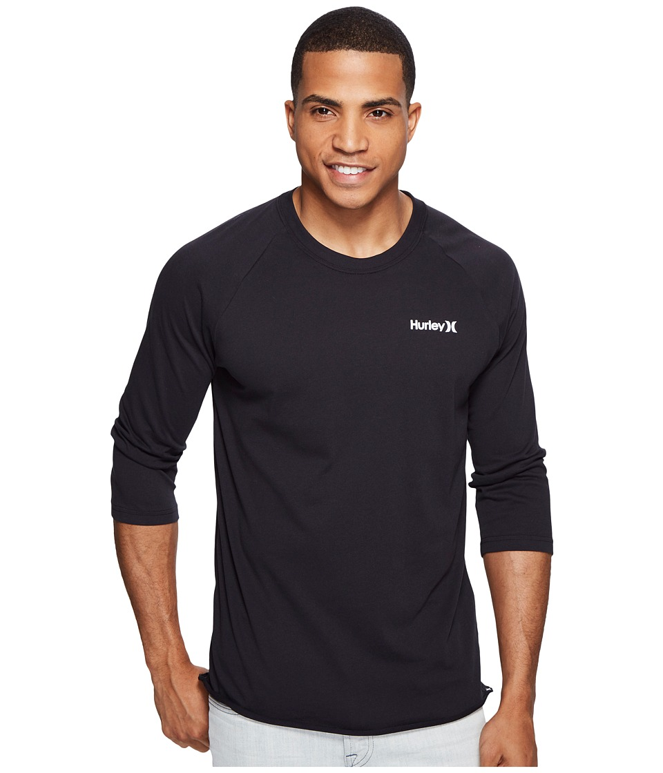 Hurley - One and Only 3/4 Dri-Fit Raglan (Black) Men's Clothing