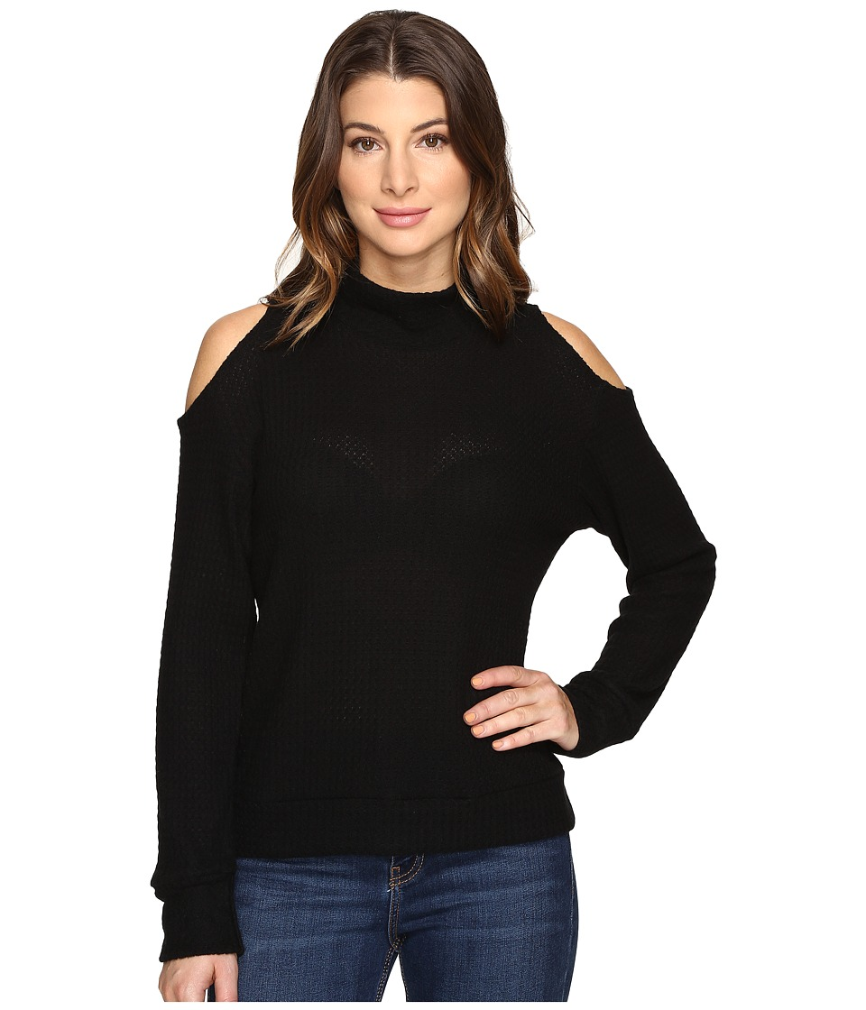 LNA - Open Shoulder Turtleneck (Black) Women's Clothing