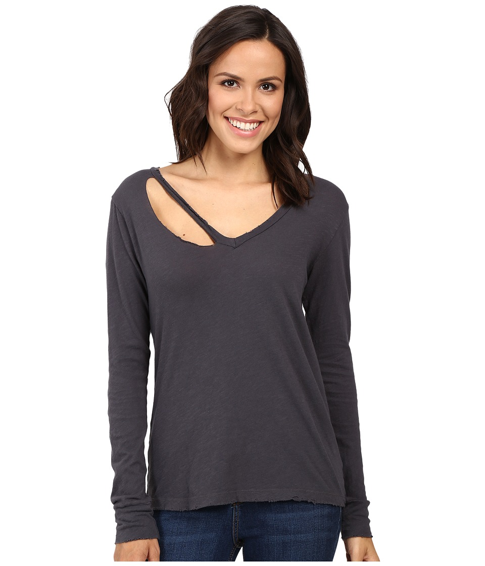 LNA - Long Sleeve Fallon V-Neck (Vintage Black) Women's Clothing