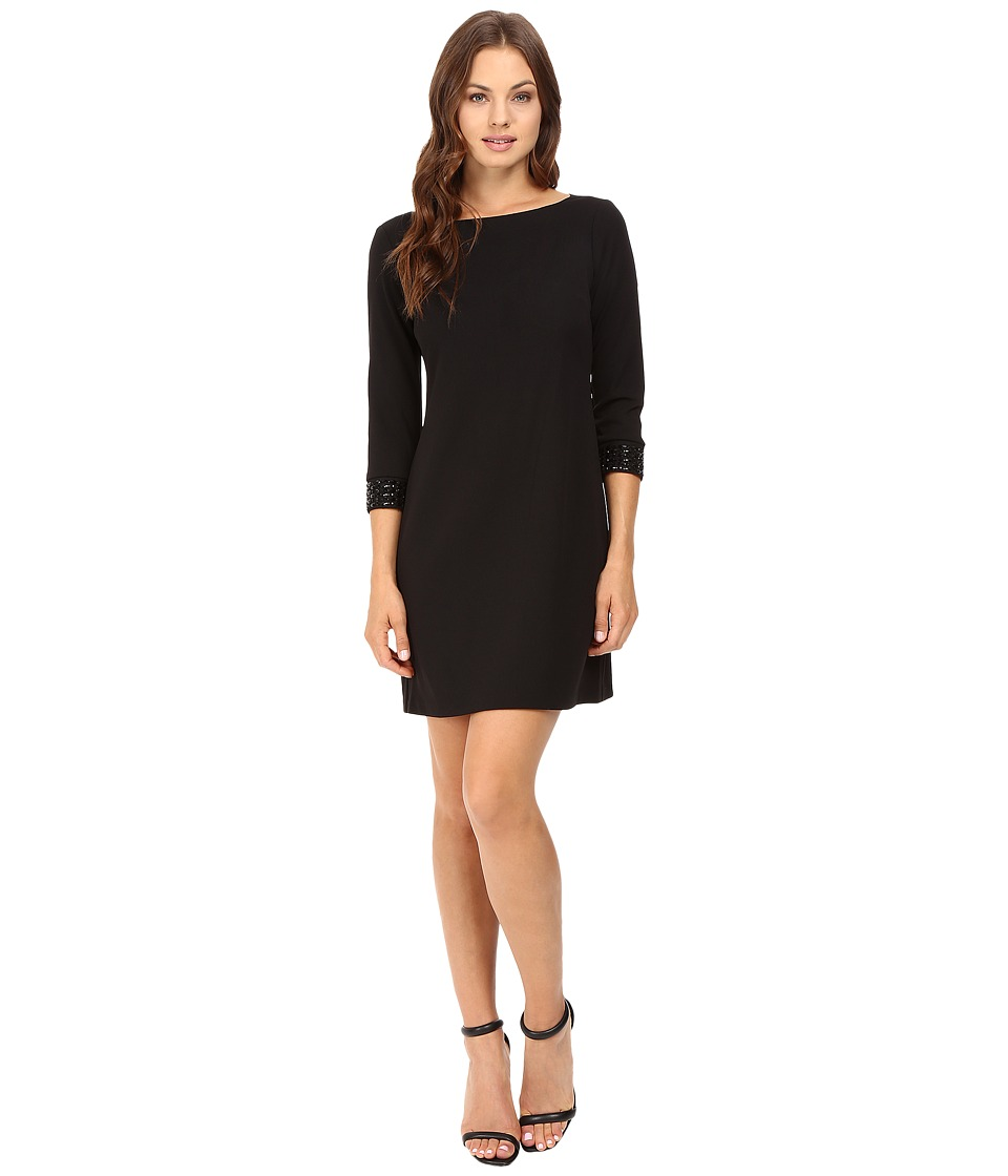 Vince Camuto - 3/4 Sleeve Shift Dress with Embellished Cuffs (Black) Women's Dress