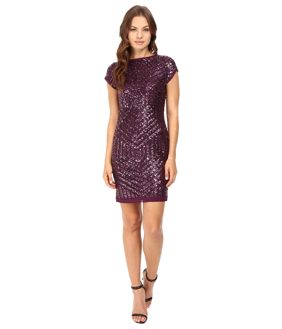 Vince Camuto - Sequins Dress with Chiffon Trim (Plum) Women's Dress