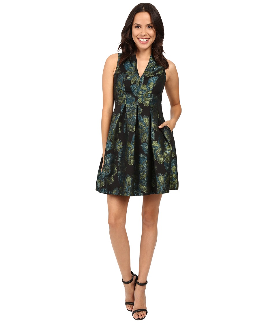 Vince Camuto - Jacquard V-Neck Sleeveless Fit and Flare (Green/Navy) Women's Dress