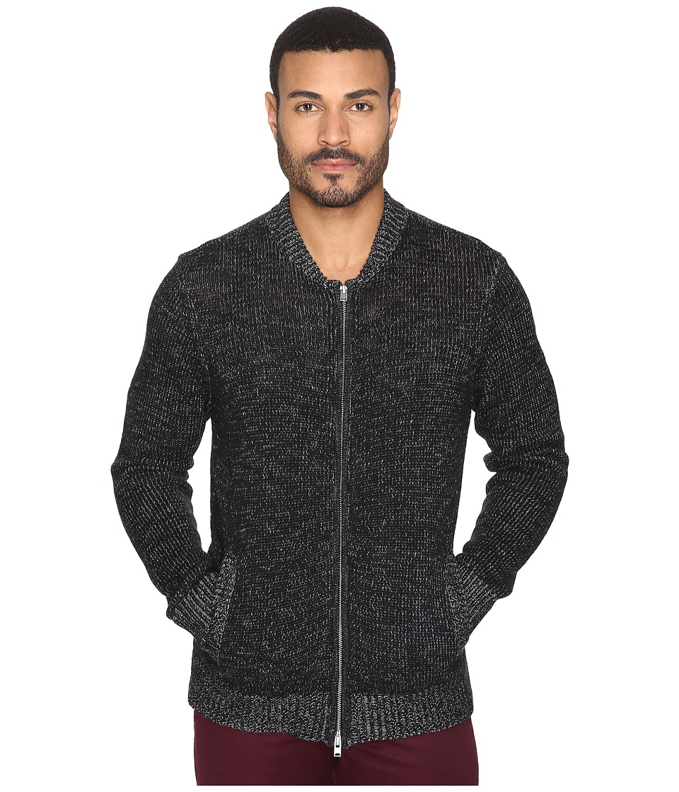 Michael Stars - Marled Slub Full Zip Bomber Sweater Jacket (Black/Heather Grey) Men's Coat