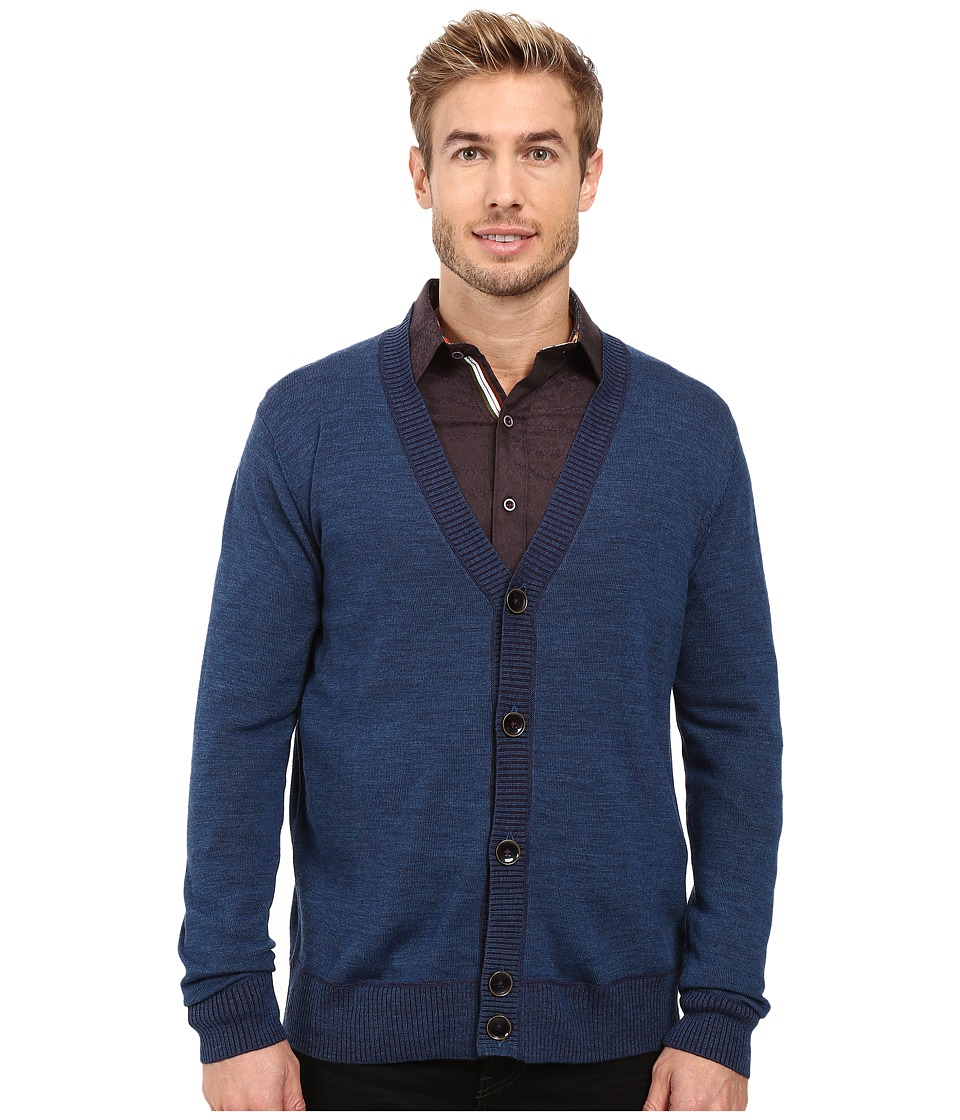 Robert Graham - Berengar Cardigan (Heather Teal) Men's Sweater