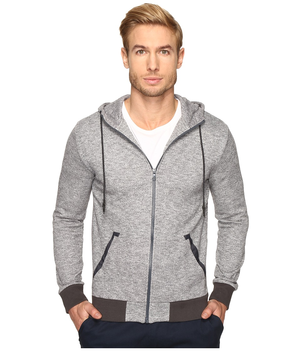 Michael Stars - Zip Front Hoodie (Black Heather) Men's Sweatshirt