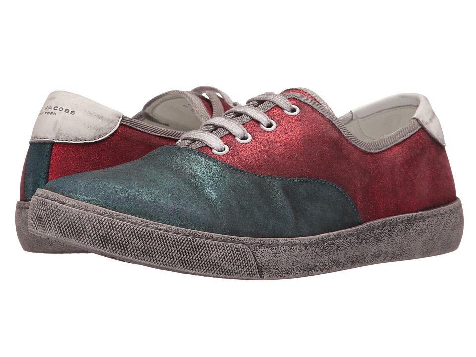 Marc Jacobs - Metallic Suede Low Top (Blue/Red) Men's Lace up casual Shoes