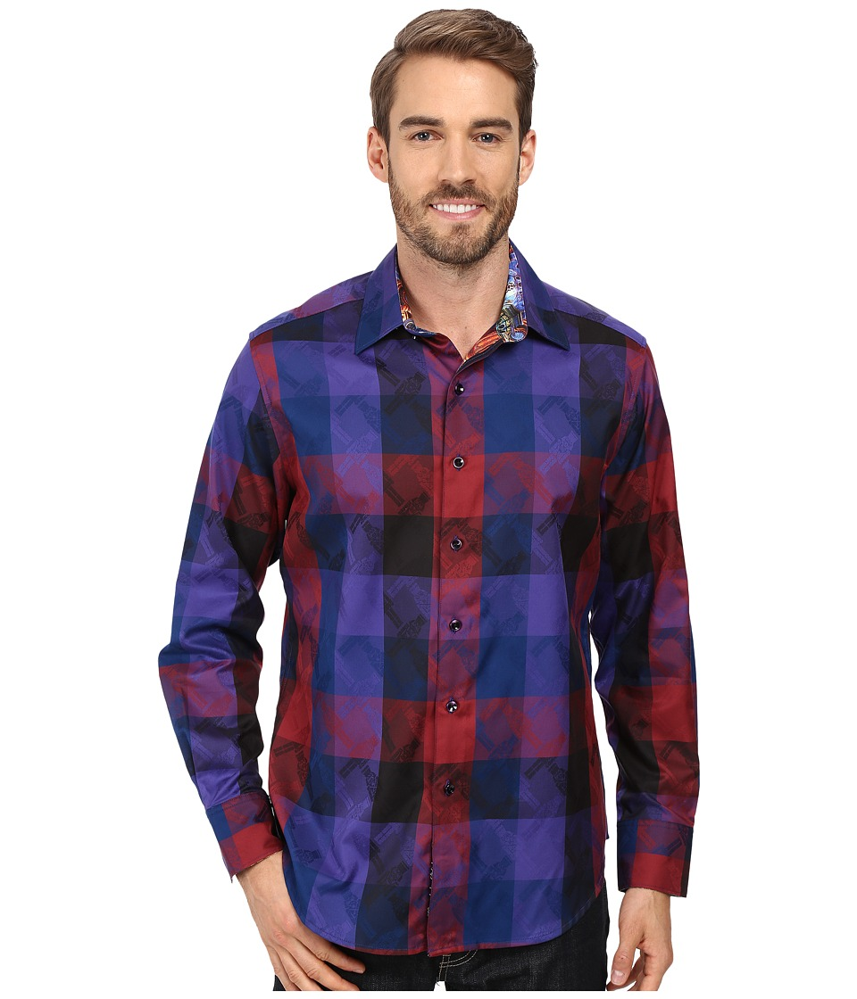 Robert Graham - Nutcracker Long Sleeve Woven Shirt (Burgundy) Men's Clothing