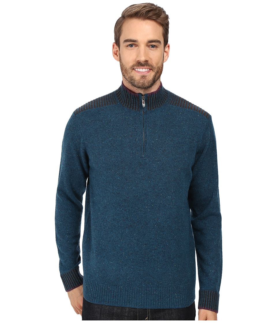 Robert Graham Terzo 1/2 Zip Sweater (Heather Teal) Men