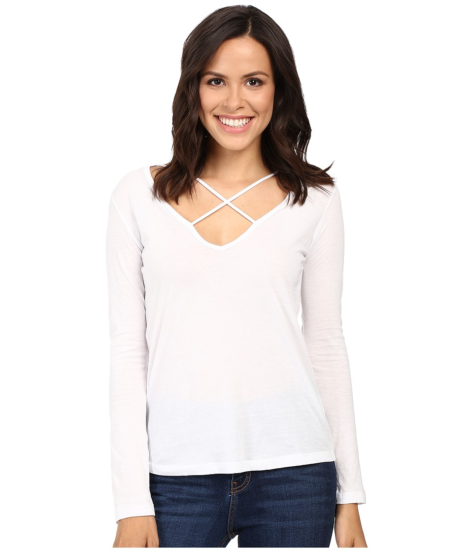 LNA - Long Sleeve Cross Tee (White) Women's T Shirt