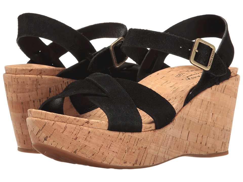 Kork-Ease - Ava 2.0 (Black Suede) Women's Wedge Shoes