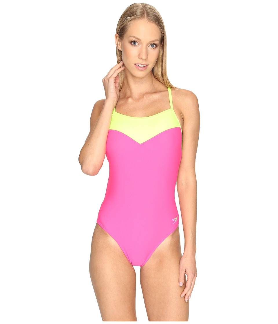 Speedo - Illusion Heart One-Piece (Electric Pink) Women's Swimsuits One Piece