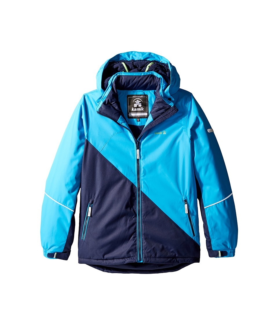 Kamik Kids - Aria Colour Block Jacket (Little Kids/Big Kids) (Cyan) Girl's Coat