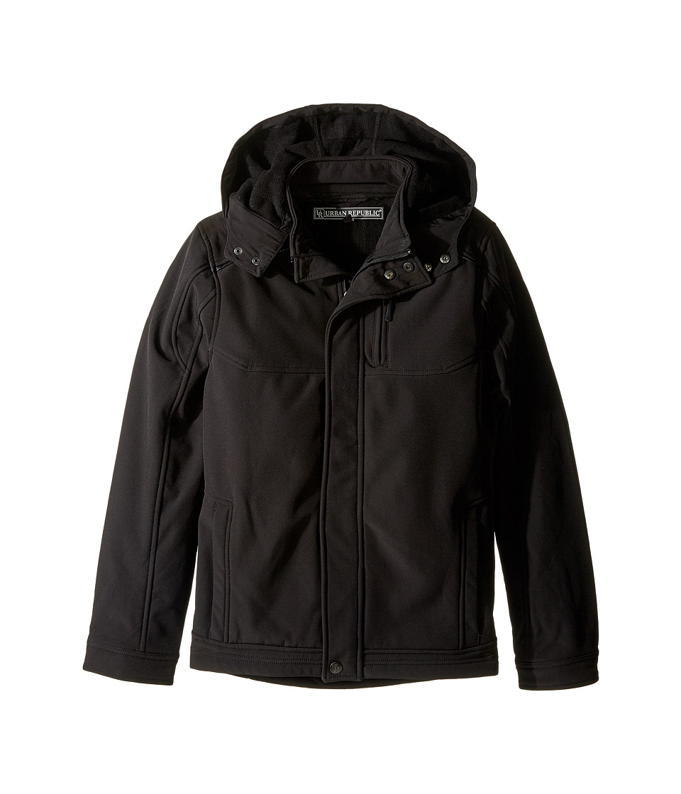 Urban Republic Kids - Mixed Media Soft Shell (Big Kids) (Black 2) Boy's Coat