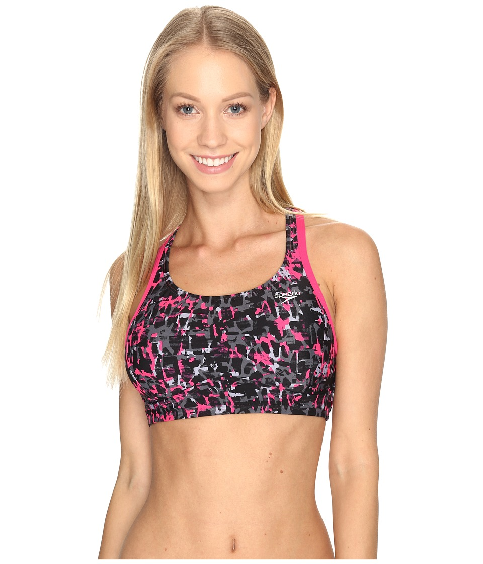 Speedo - Print Aqua Elite Swim Top (Power Pink) Women's Swimwear