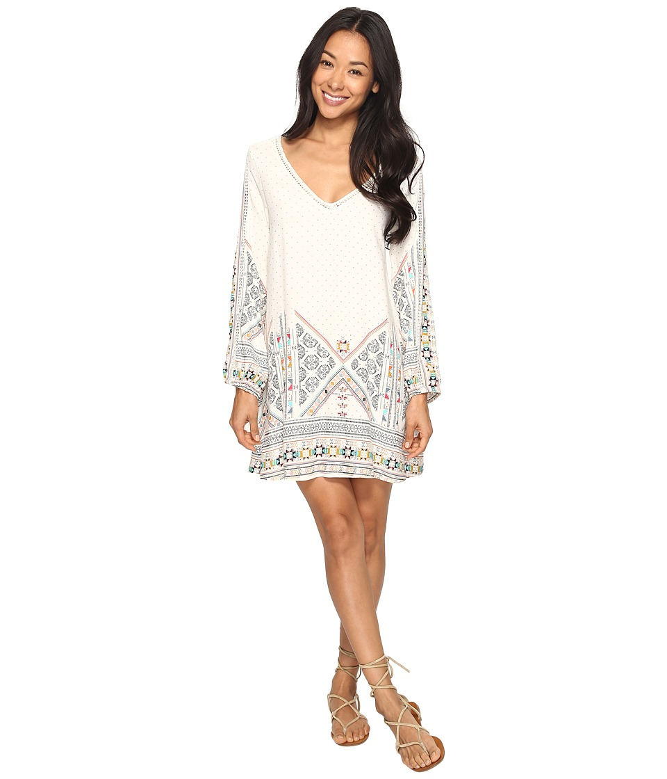 Roxy - April Morning Long Sleeve Dress (Marshmallow Tex Mex Border) Women's Dress