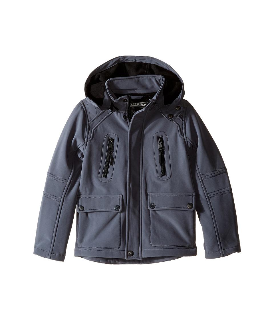 Urban Republic Kids - Mixed Media Jacket w/ Zip-Off Hood (Little Kids) (Pewter) Boy's Coat