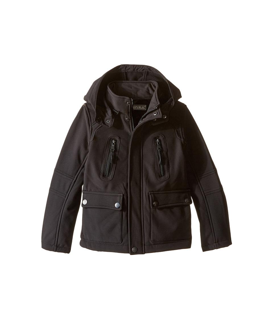 Urban Republic Kids - Mixed Media Jacket w/ Zip-Off Hood (Little Kids) (Black) Boy's Coat