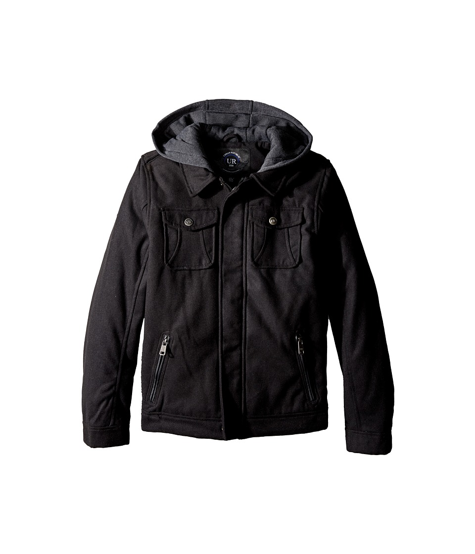 Urban Republic Kids - Wool Officers Jacket (Big Kids) (Black) Boy's Coat