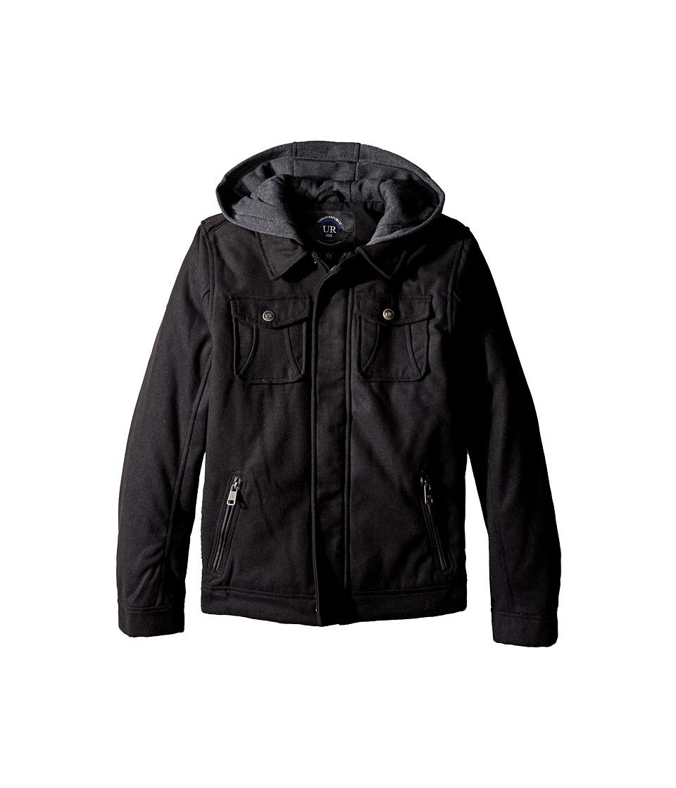 Urban Republic Kids - Wool Officers Jacket (Big Kids) (Black) Boy's Coat