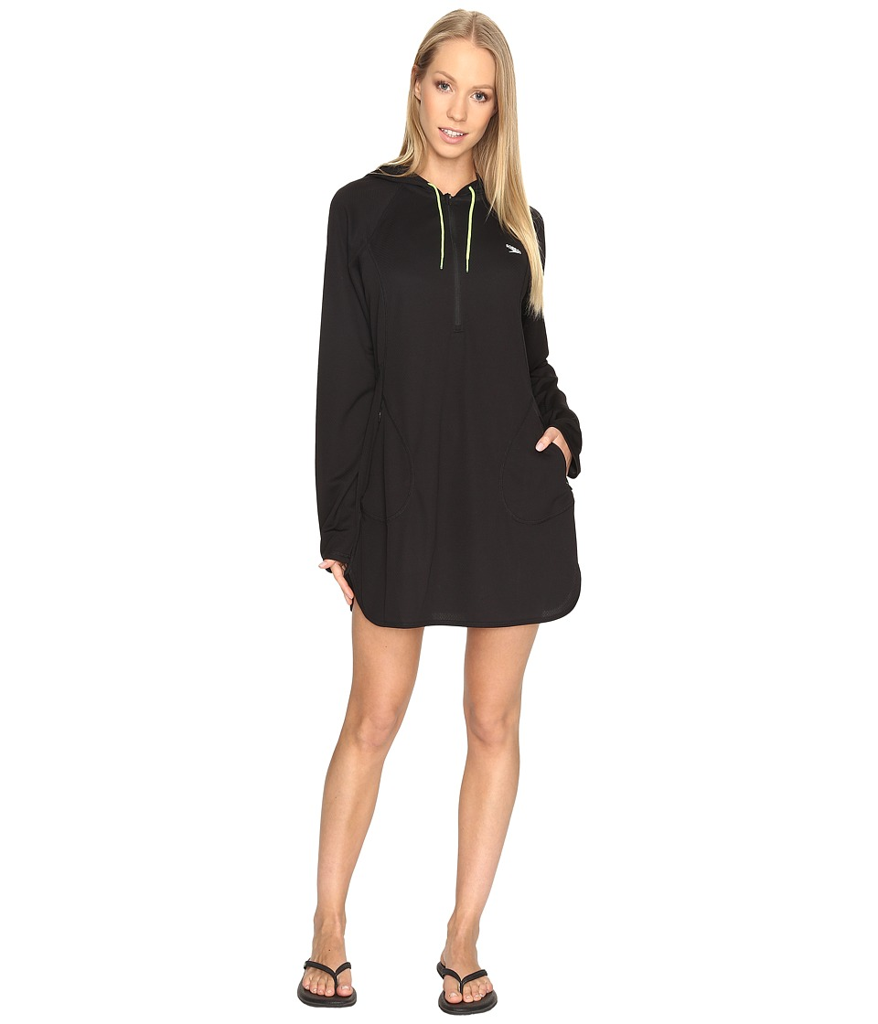 Speedo Hoodie Dress Cover-Up Speedo Black Swimwear
