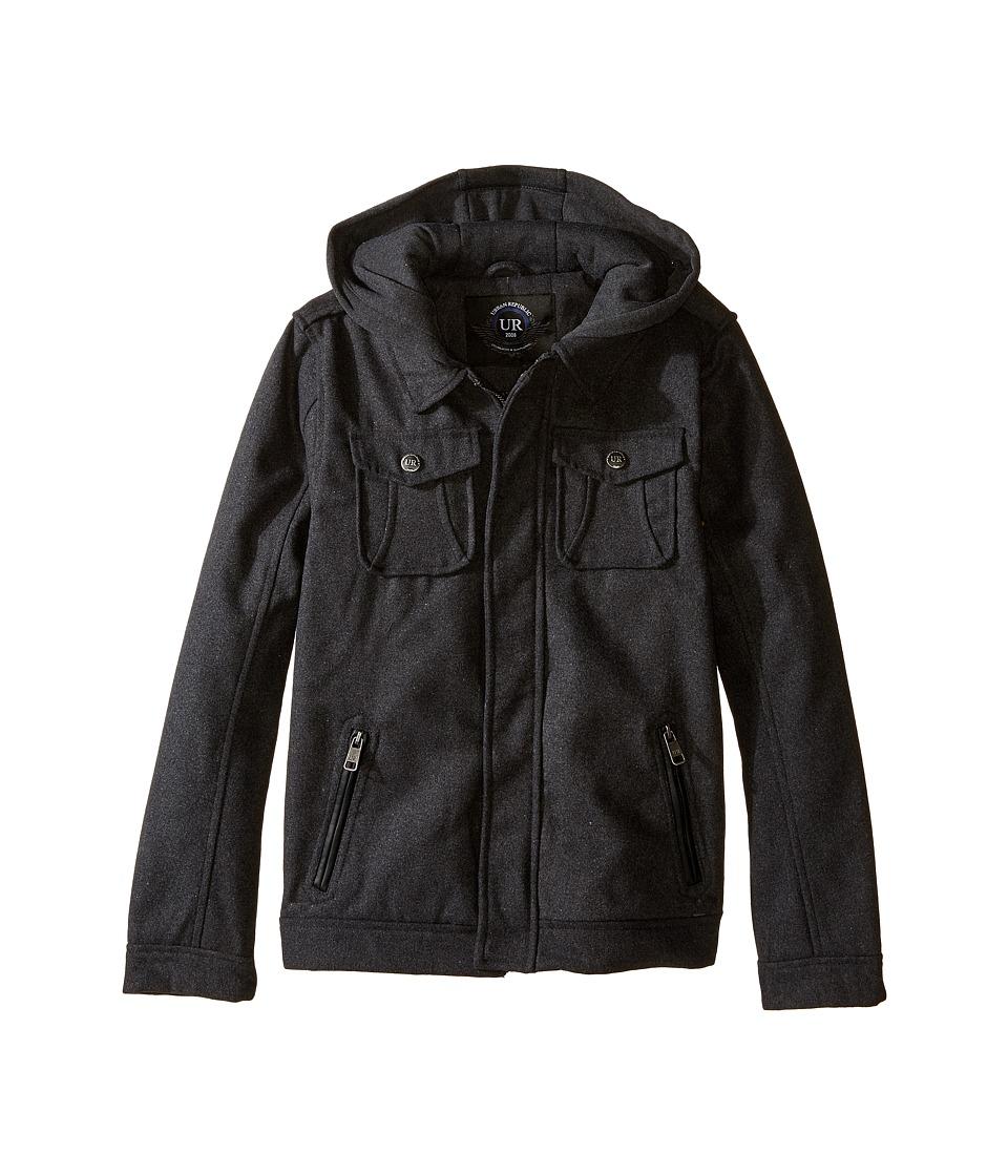 Urban Republic Kids - Wool Officers Jacket (Big Kids) (Charcoal) Boy's Coat
