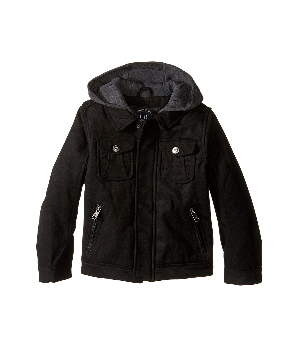 Urban Republic Kids - Wool Officers Jacket (Little Kids) (Black) Boy's Coat
