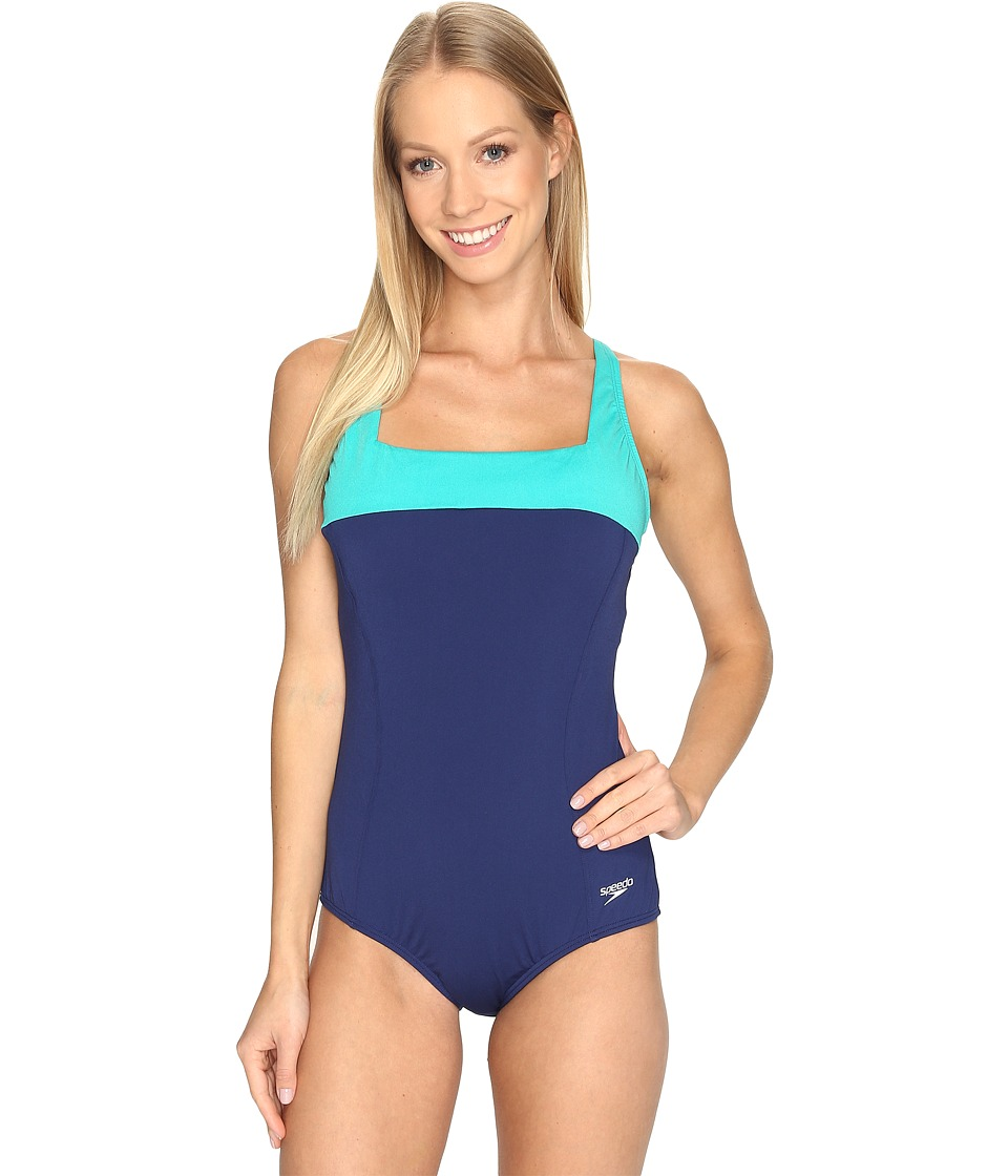 Speedo - Color Top One-Piece (Night Blue) Women's Swimsuits One Piece