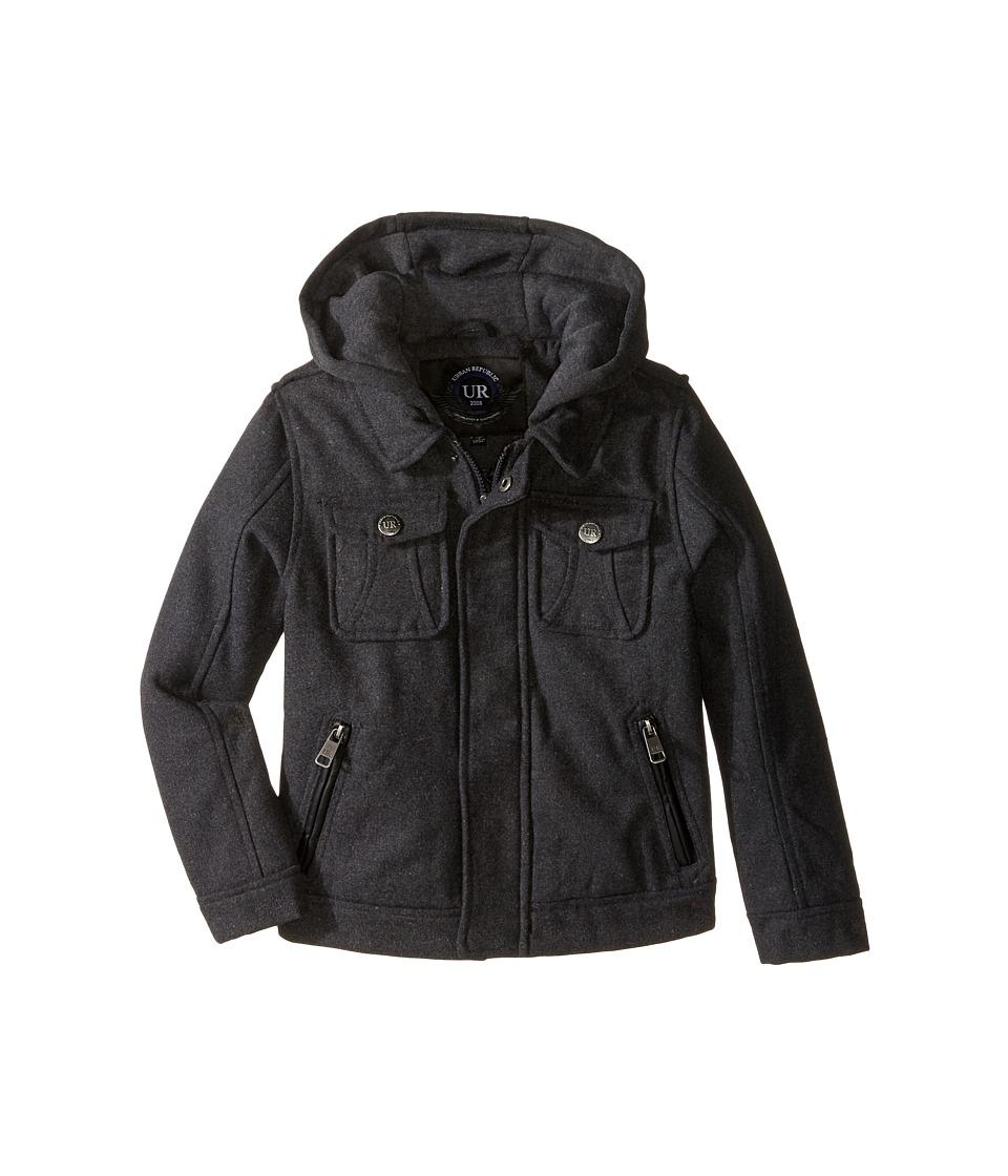 Urban Republic Kids - Wool Officers Jacket (Little Kids) (Charcoal) Boy's Coat