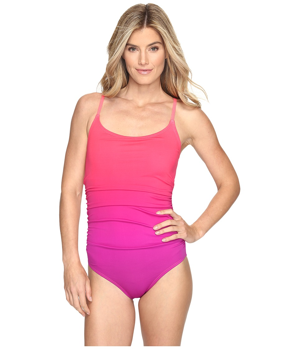 Speedo - Ombre Shirred One Piece (Granatina) Women's Swimsuits One Piece