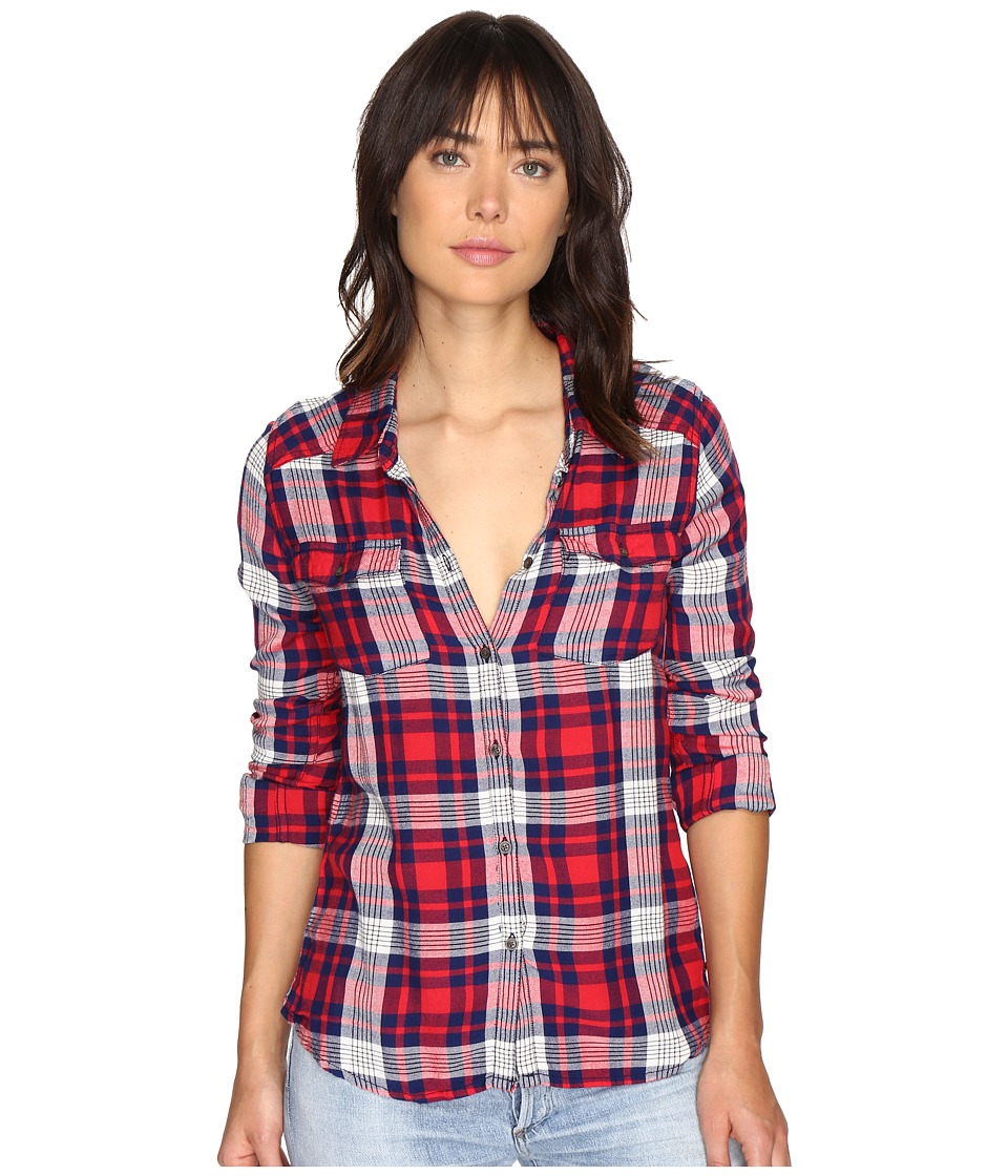 Roxy - Plaid On You Long Sleeve Shirt (Hibiscus Pinetree Plaid) Women's Clothing