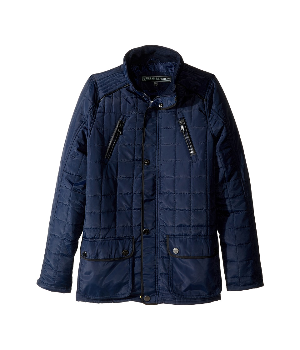 Urban Republic Kids - Mixed Media Thinfill Quilt Jacket (Big Kids) (Navy) Boy's Coat