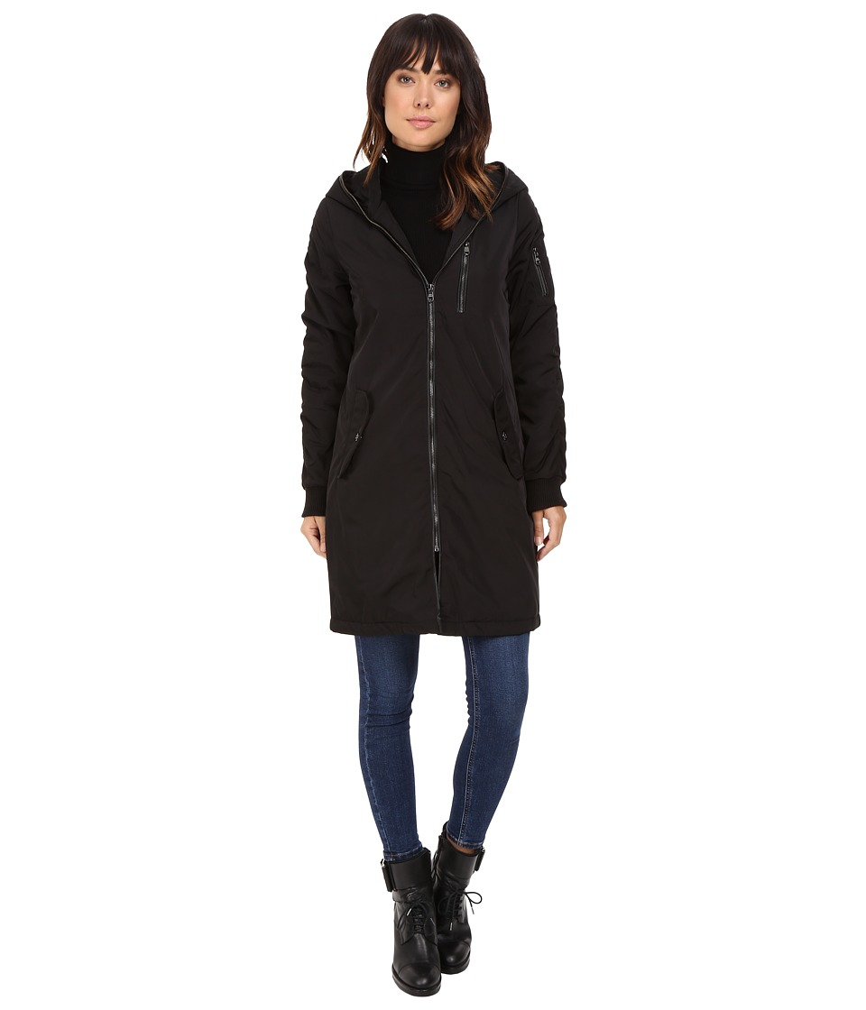 Steve Madden - Memory Parka with Ruched Sleeve and Back Detail (Black) Women's Coat