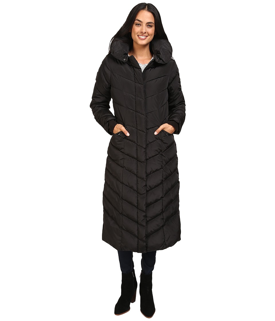 Steve Madden - Maxi Hooded Chevron Puffer Coat (Black) Women's Coat