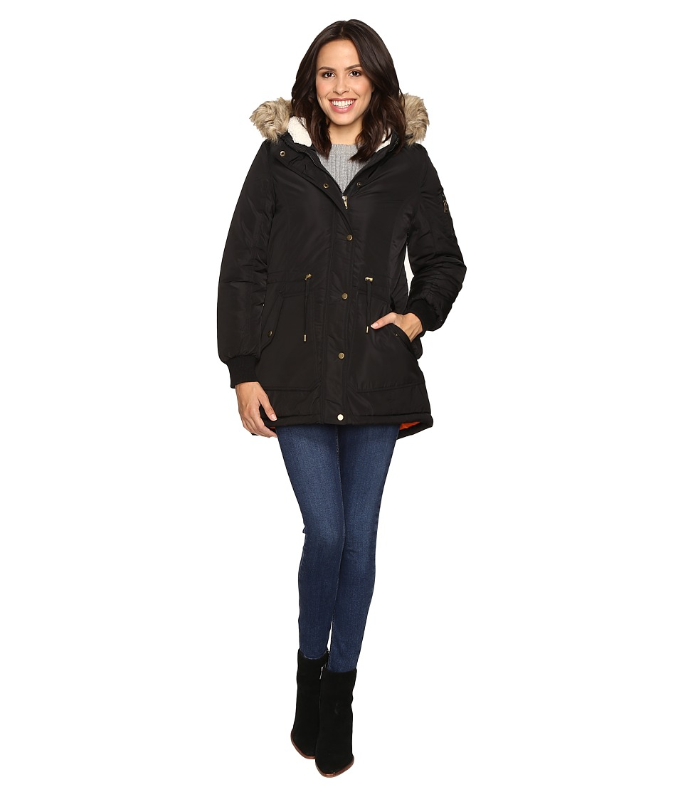 Steve Madden - Drawstring Parka (Black) Women's Coat