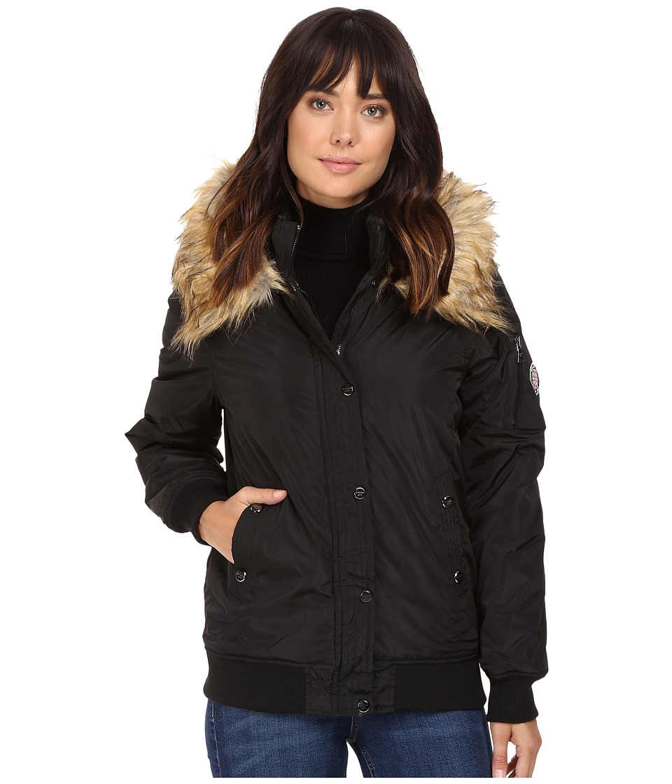 Steve Madden - Hooded Bomber Jacket (Black) Women's Coat
