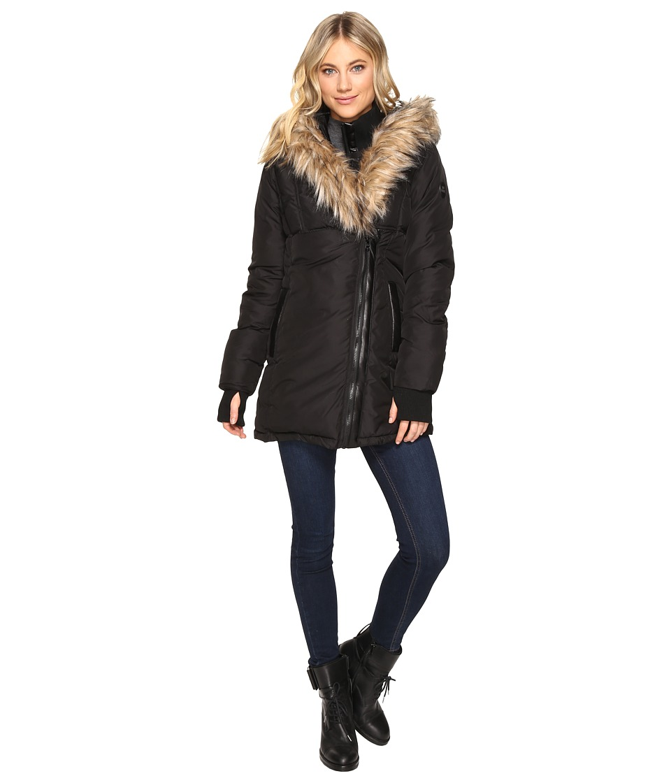 Steve Madden - Faux Hooded Down Quilted Puffer with Faux Fur Trim (Black) Women's Coat