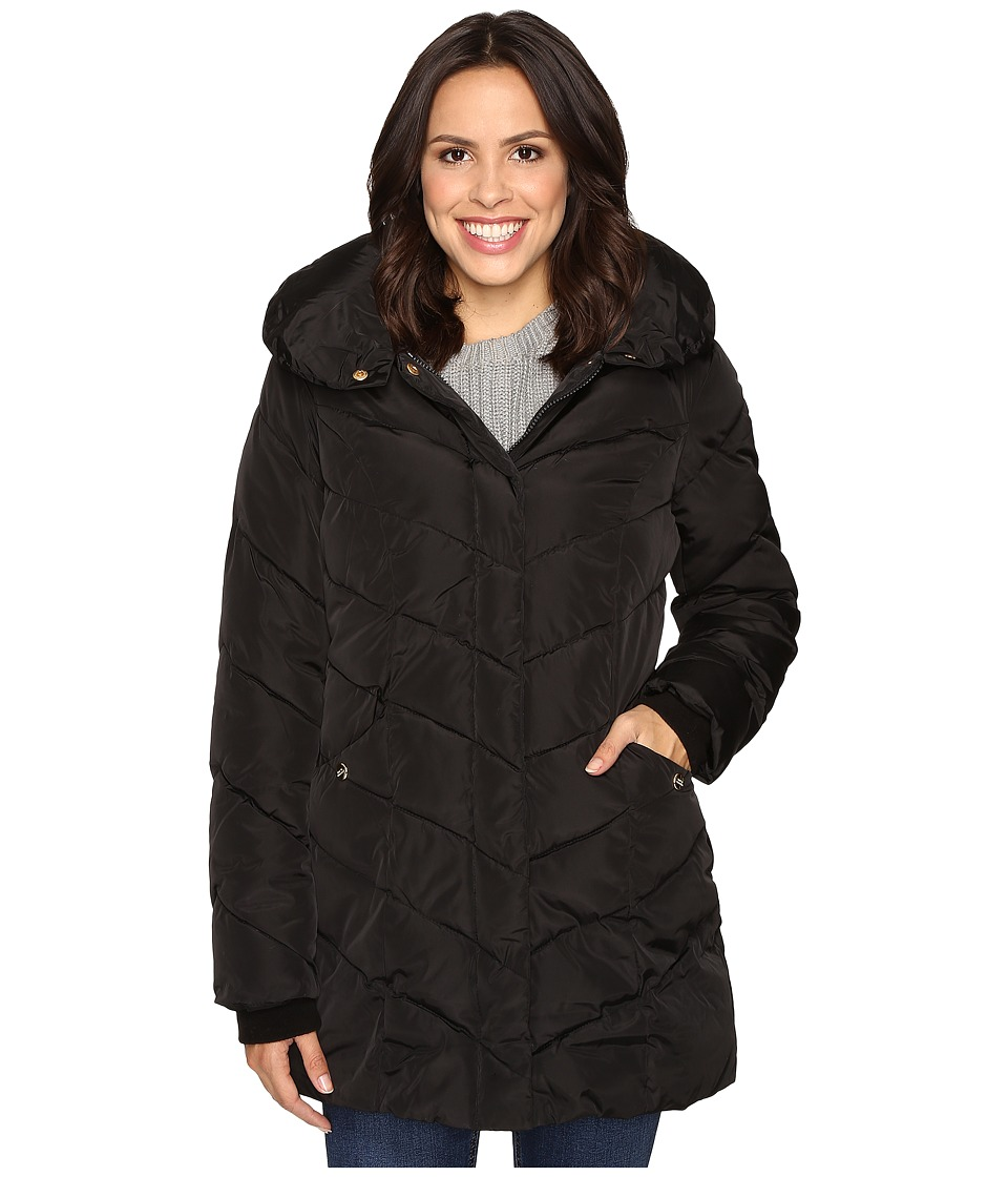 Steve Madden - Hooded Chevron Puffer Coat (Black) Women's Coat