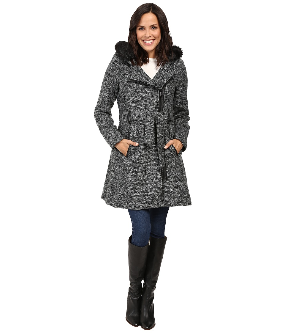 Steve Madden - Wool Blend Asymmetrical Zip Hooded Coat (Heather Grey) Women's Coat