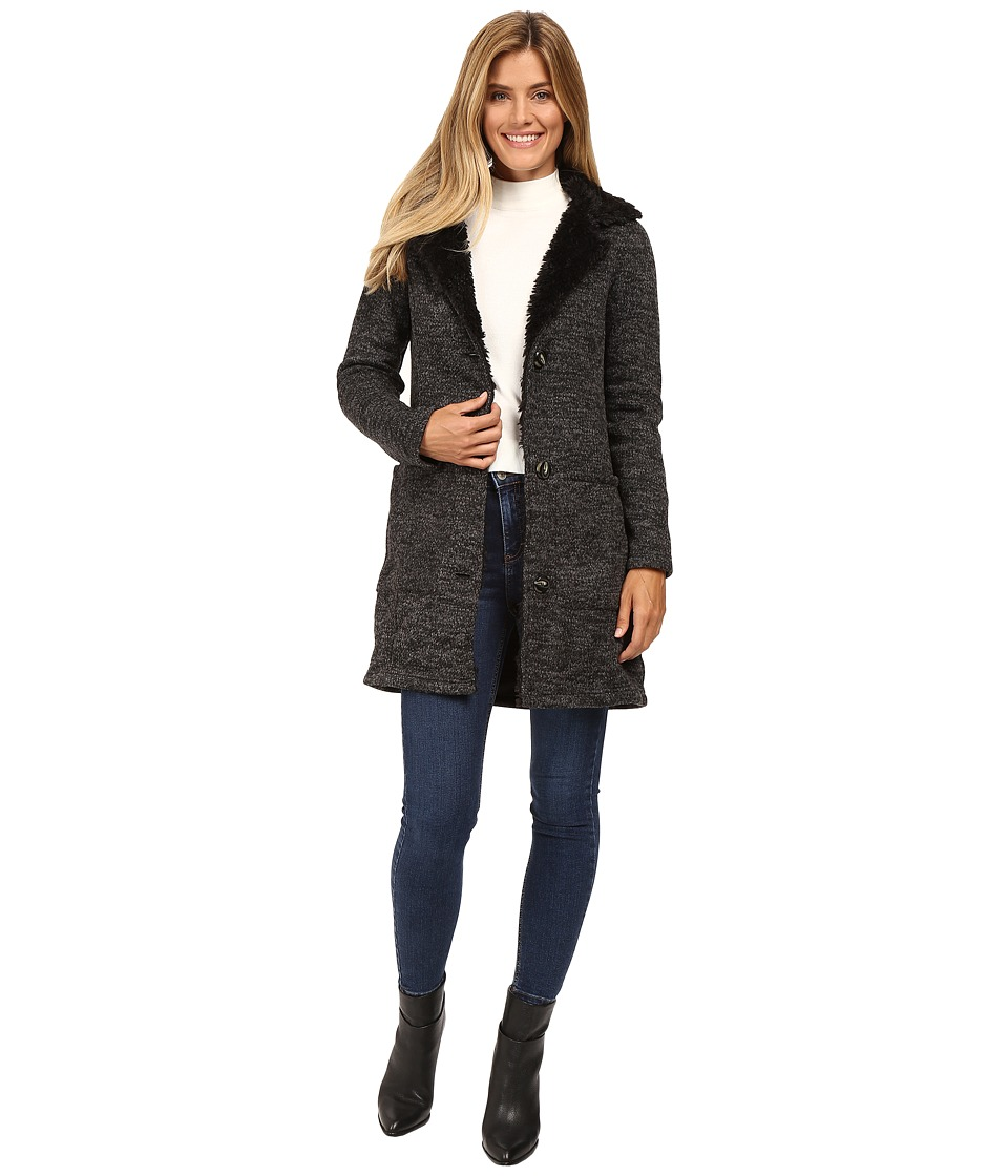 Steve Madden - Sweater Fleece Coat with Faux Fur Trim (Charcoal/Black) Women's Coat
