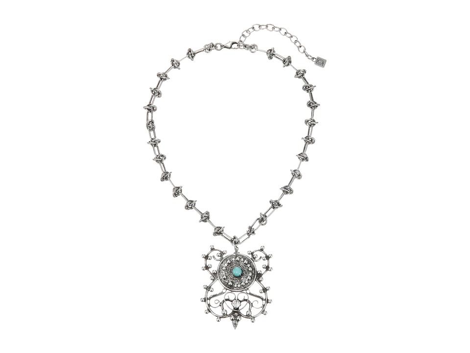 DANNIJO - LIBERTY Necklace (Ox Silver/Clear/Emerald) Necklace