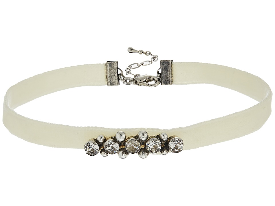 DANNIJO - AUBREY Choker Necklace (Ox Silver/Clear/Cream) Necklace